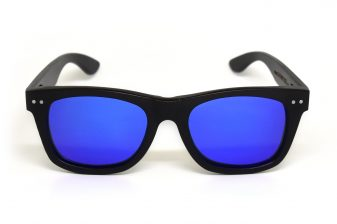 Wayfarer sunglasses black with blue mirrored lenses Bangkok III front