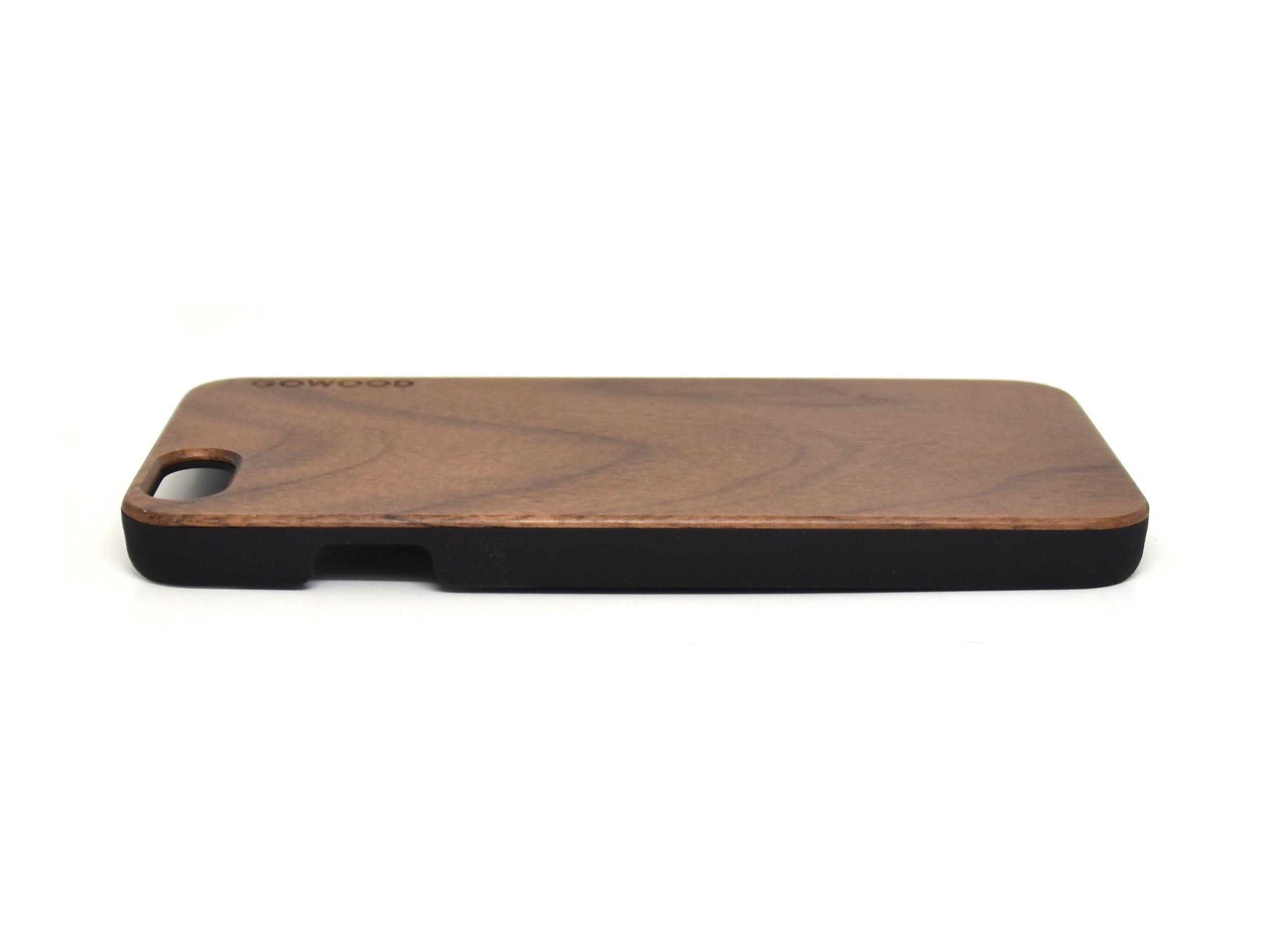 iPhone 6 hoesje van walnotenhout links