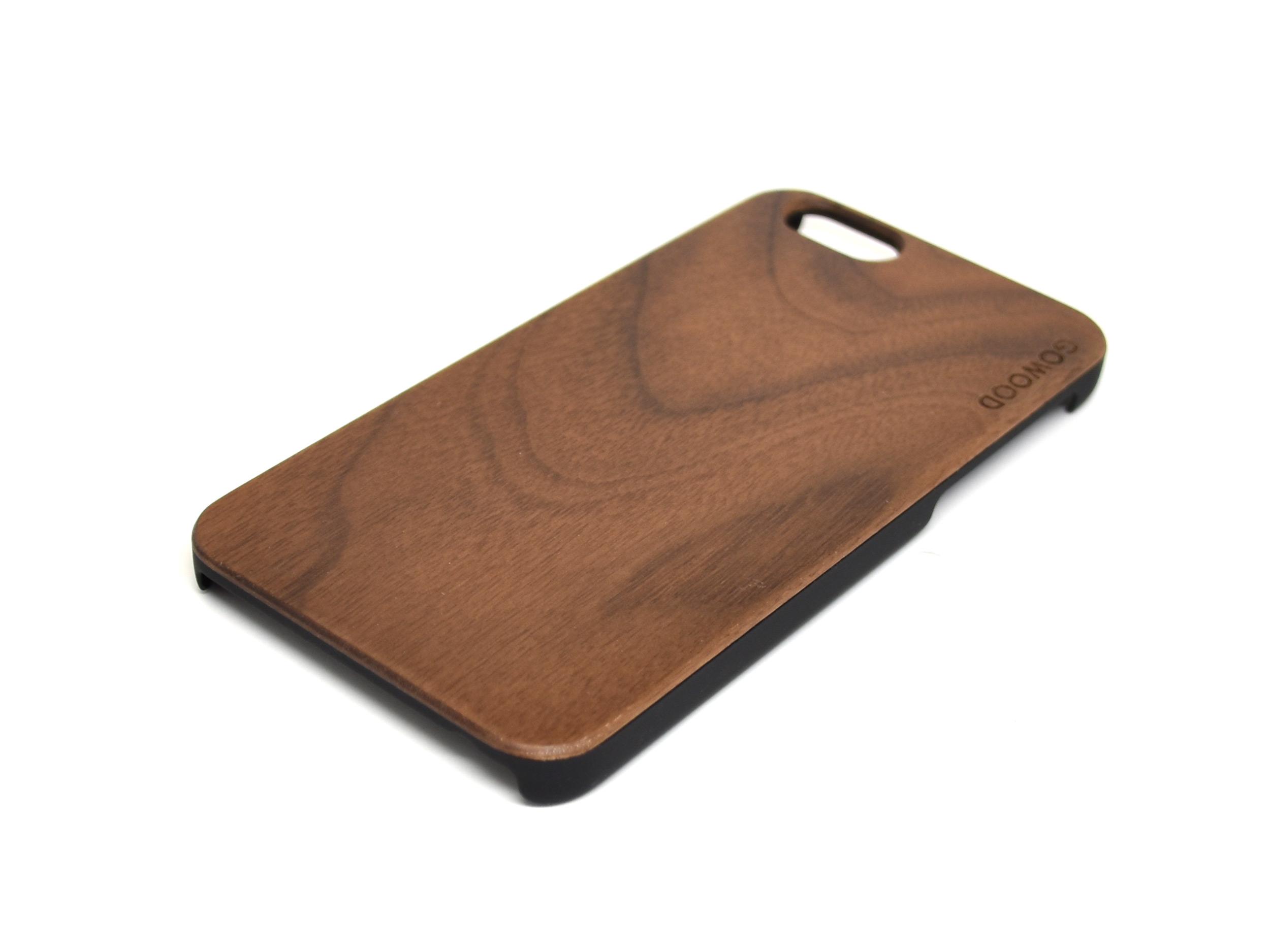 iPhone 6 hoesje van walnotenhout rechts hoek