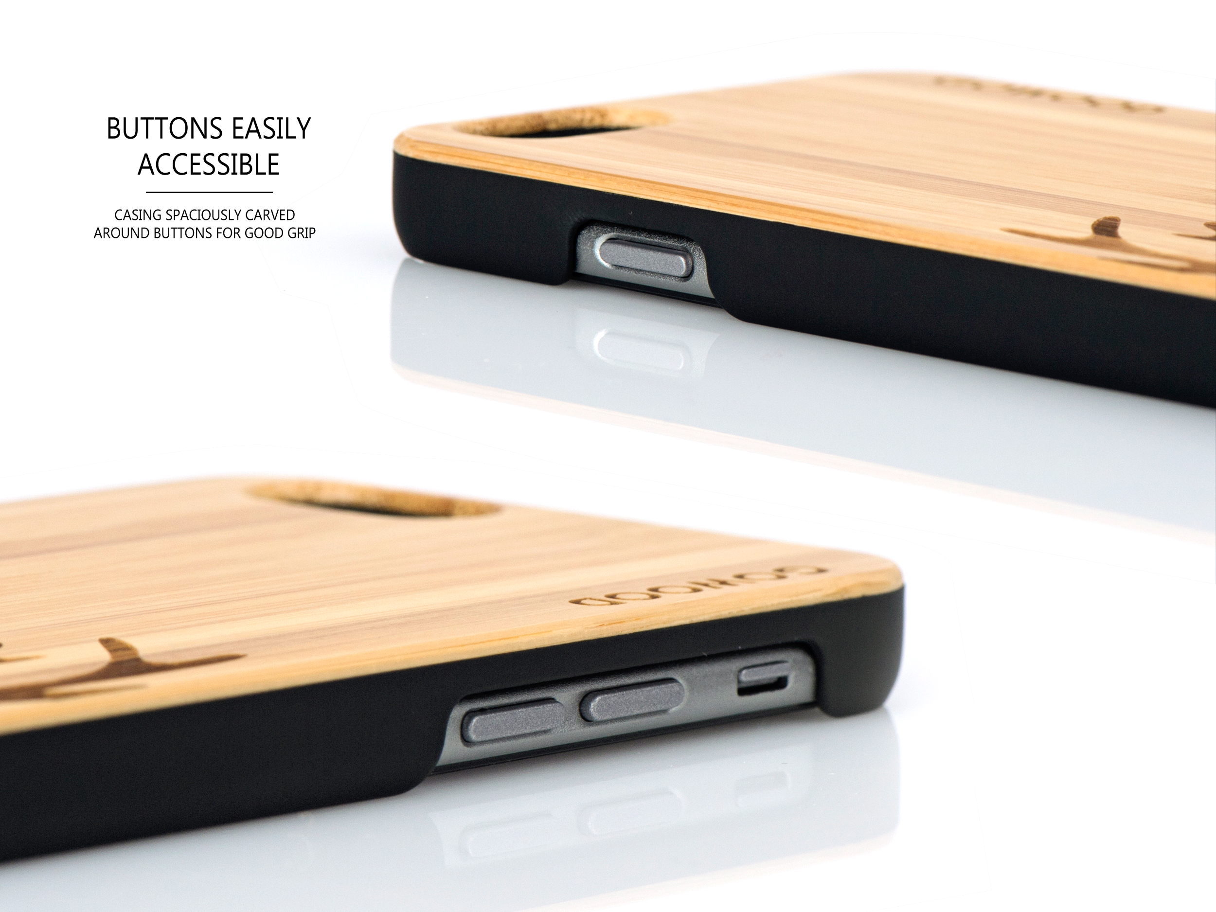 iPhone 6 case bamboo deer wood buttons