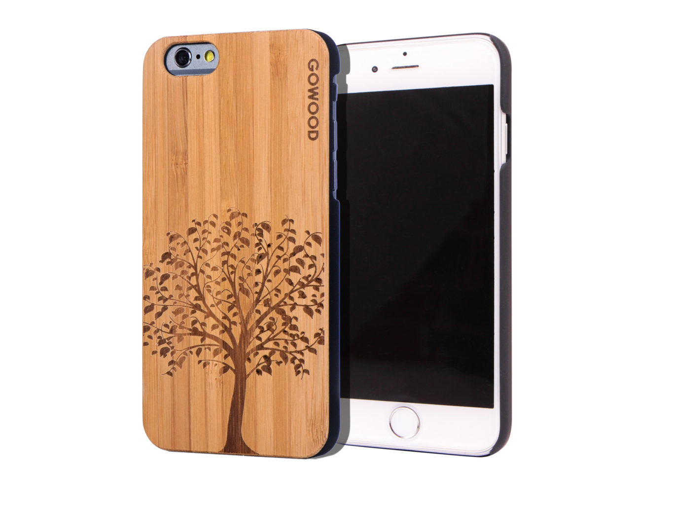iphone wood case iphone 6 wood backside with tree and pc sides gw 12505