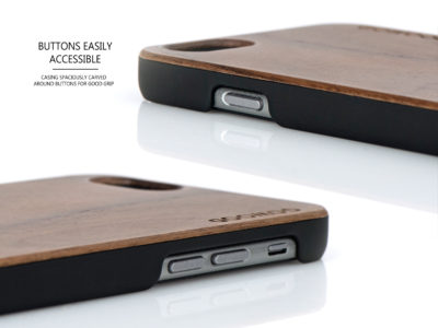 iPhone 6 case walnut wood buttons