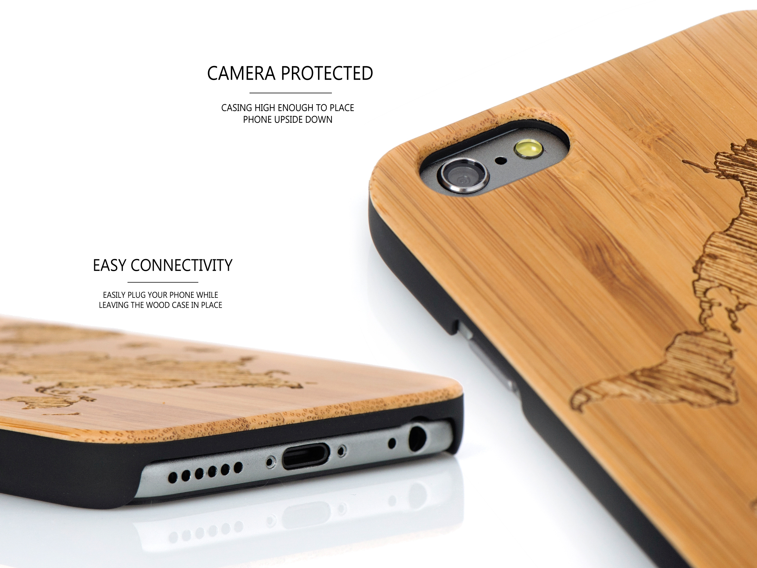iPhone 6 case bamboo world map wood camera