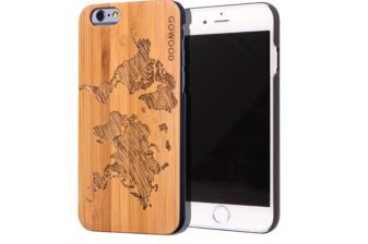 iPhone 6 case bamboo world map wood front