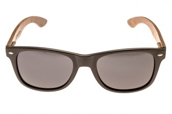 classic wayfarer sunglasses with walnut legs front