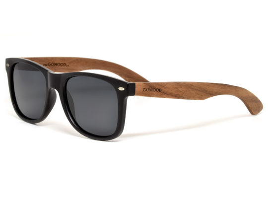 Walnut wood sunglasses wayfarer style with black polarized lenses