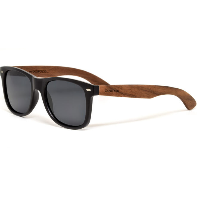 Walnut wood wayfarer sunglasses black lenses