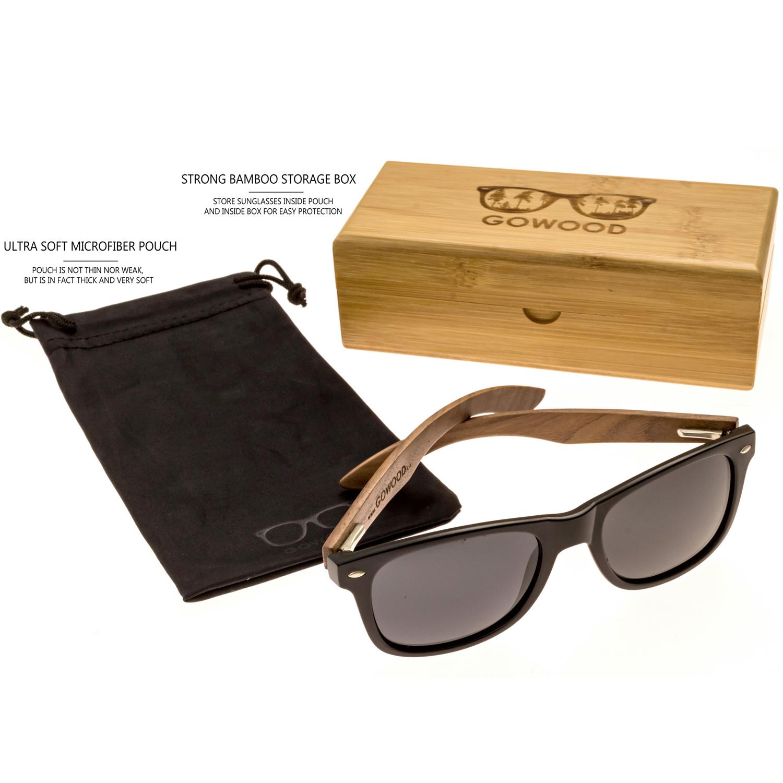 Walnut wood wayfarer sunglasses set