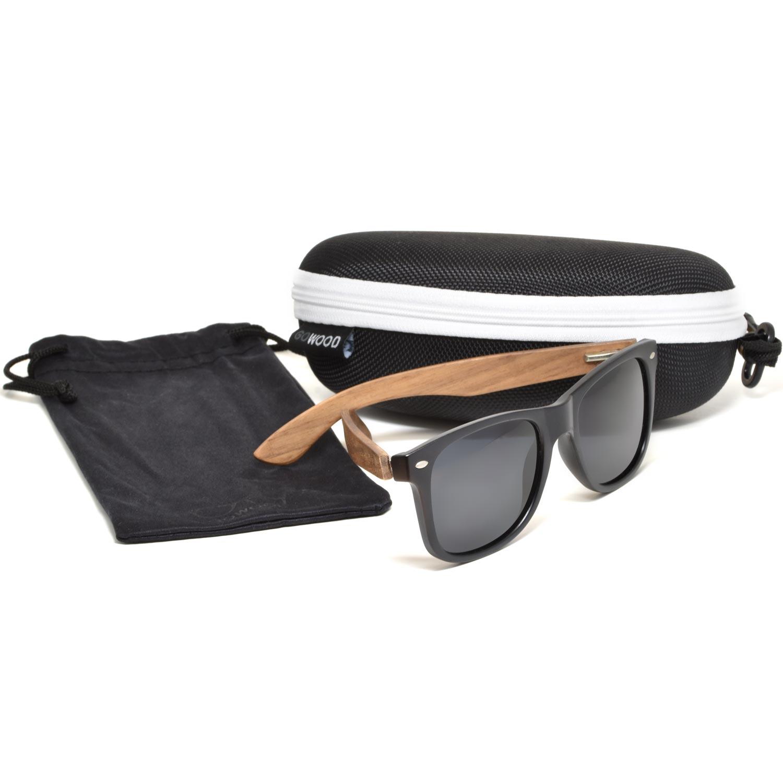 Walnut wood wayfarer sunglasses zipper case set