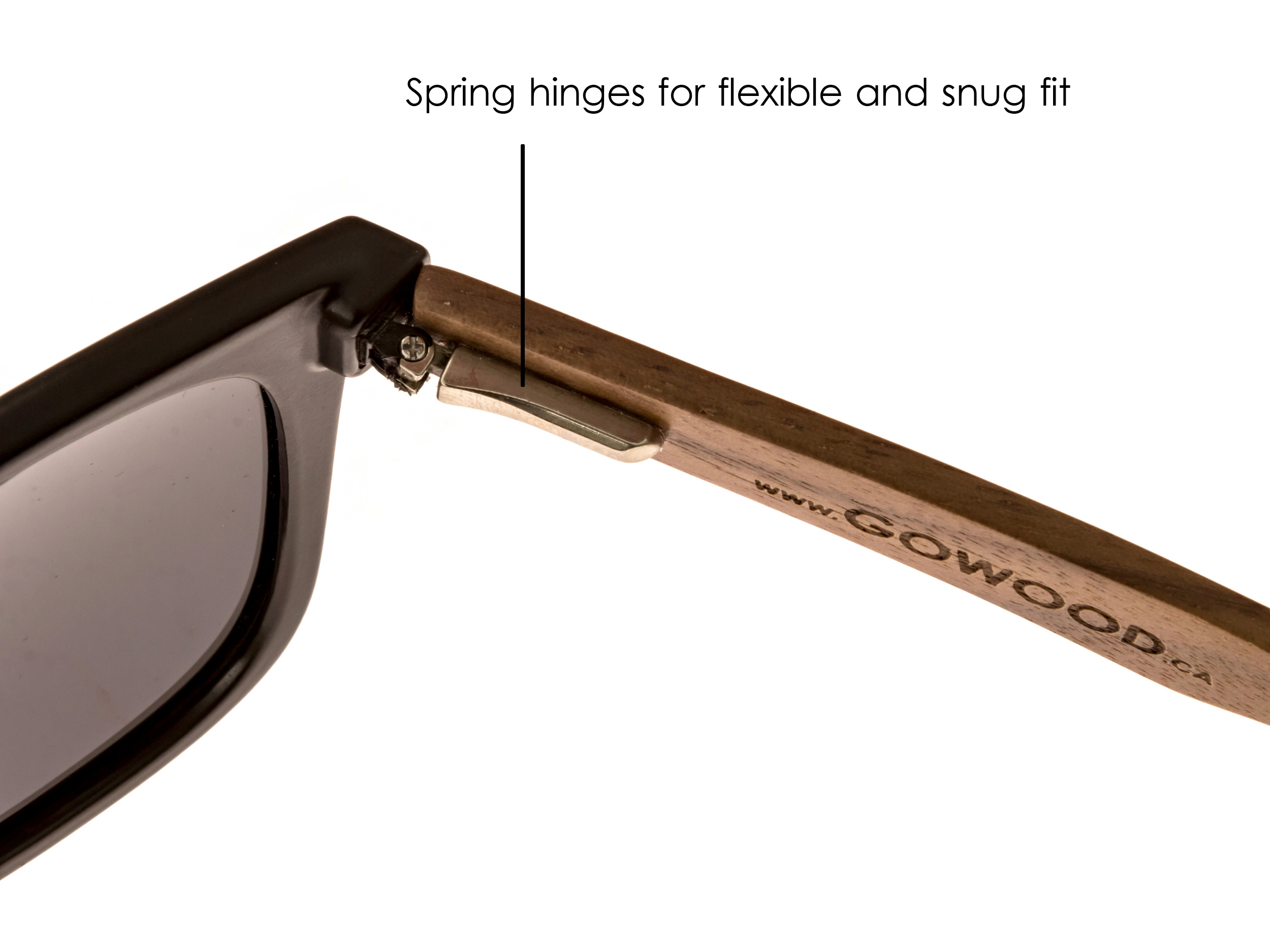 classic wayfarer sunglasses with walnut legs hinge