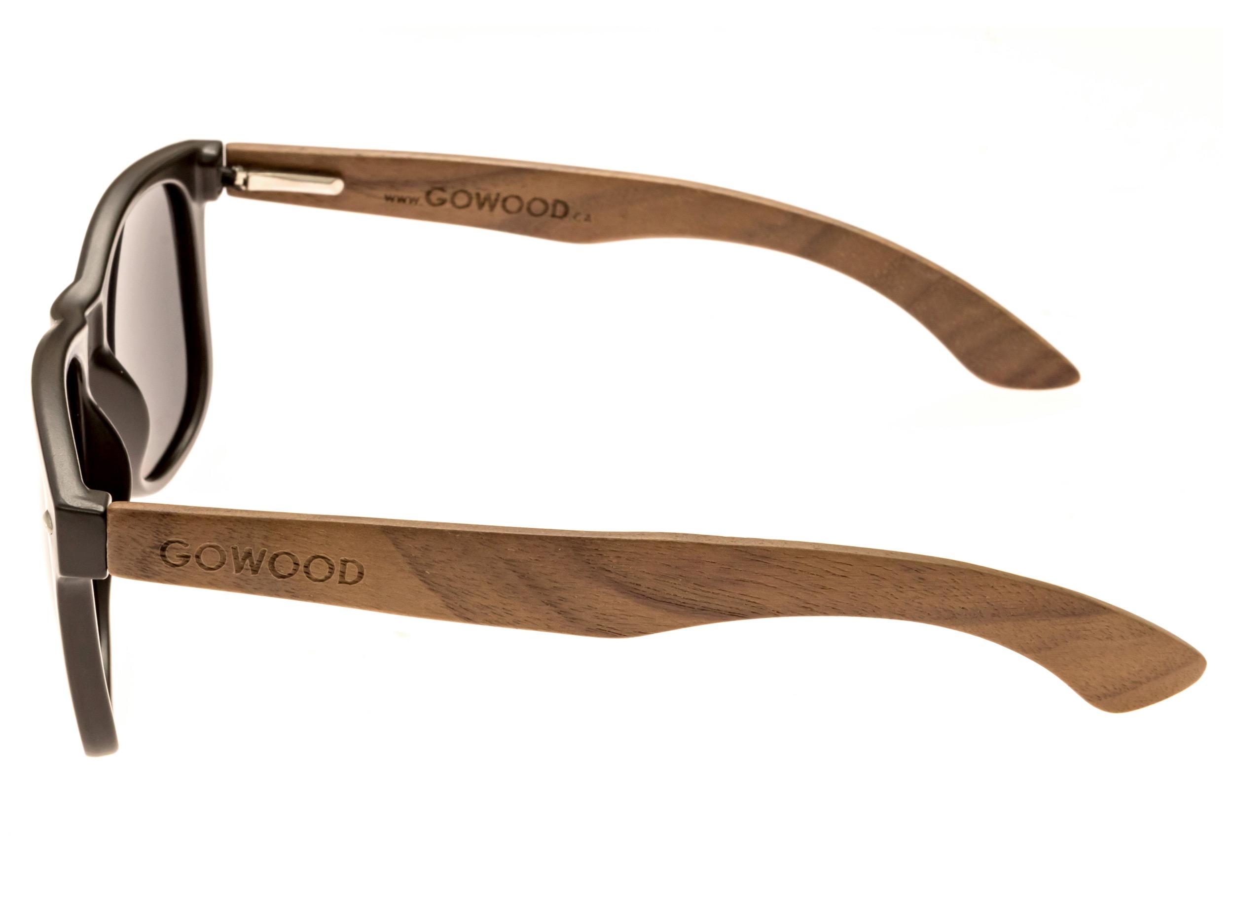 classic wayfarer sunglasses with walnut legs side