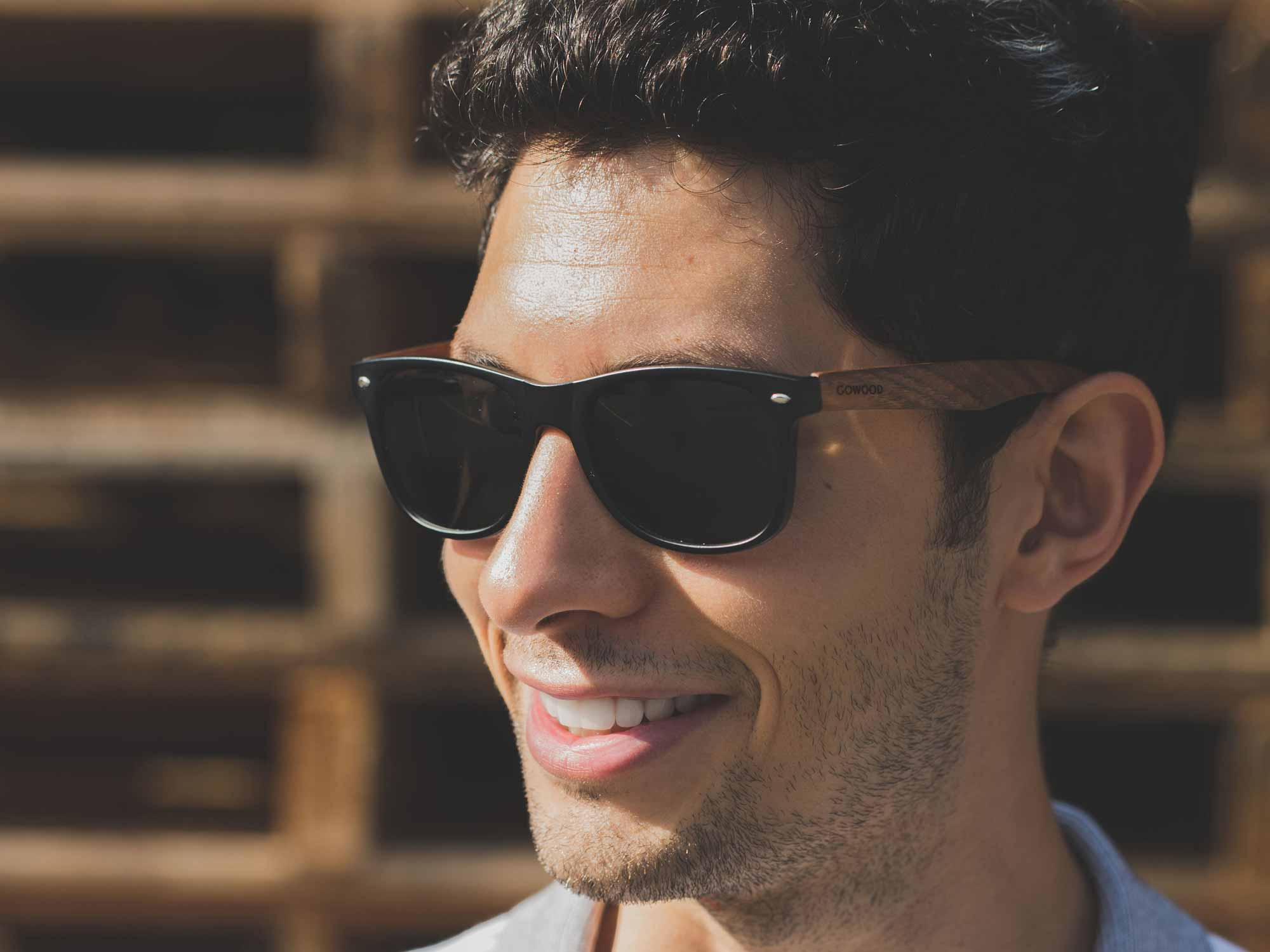 classic wayfarer sunglasses with walnut legs