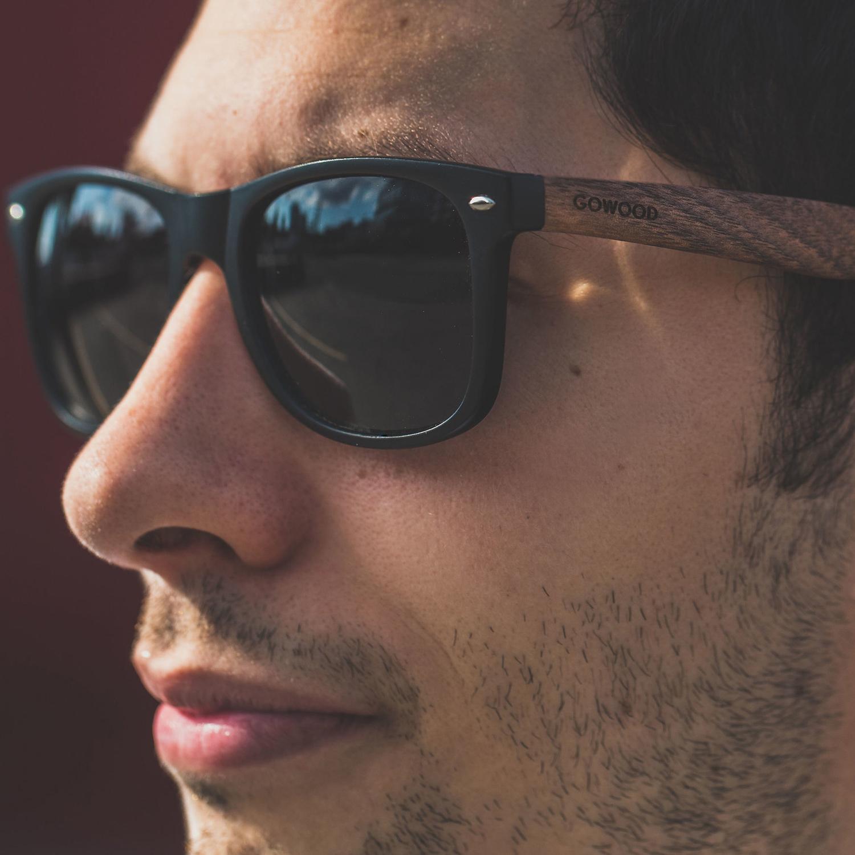 Walnut wood wayfarer sunglasses on men