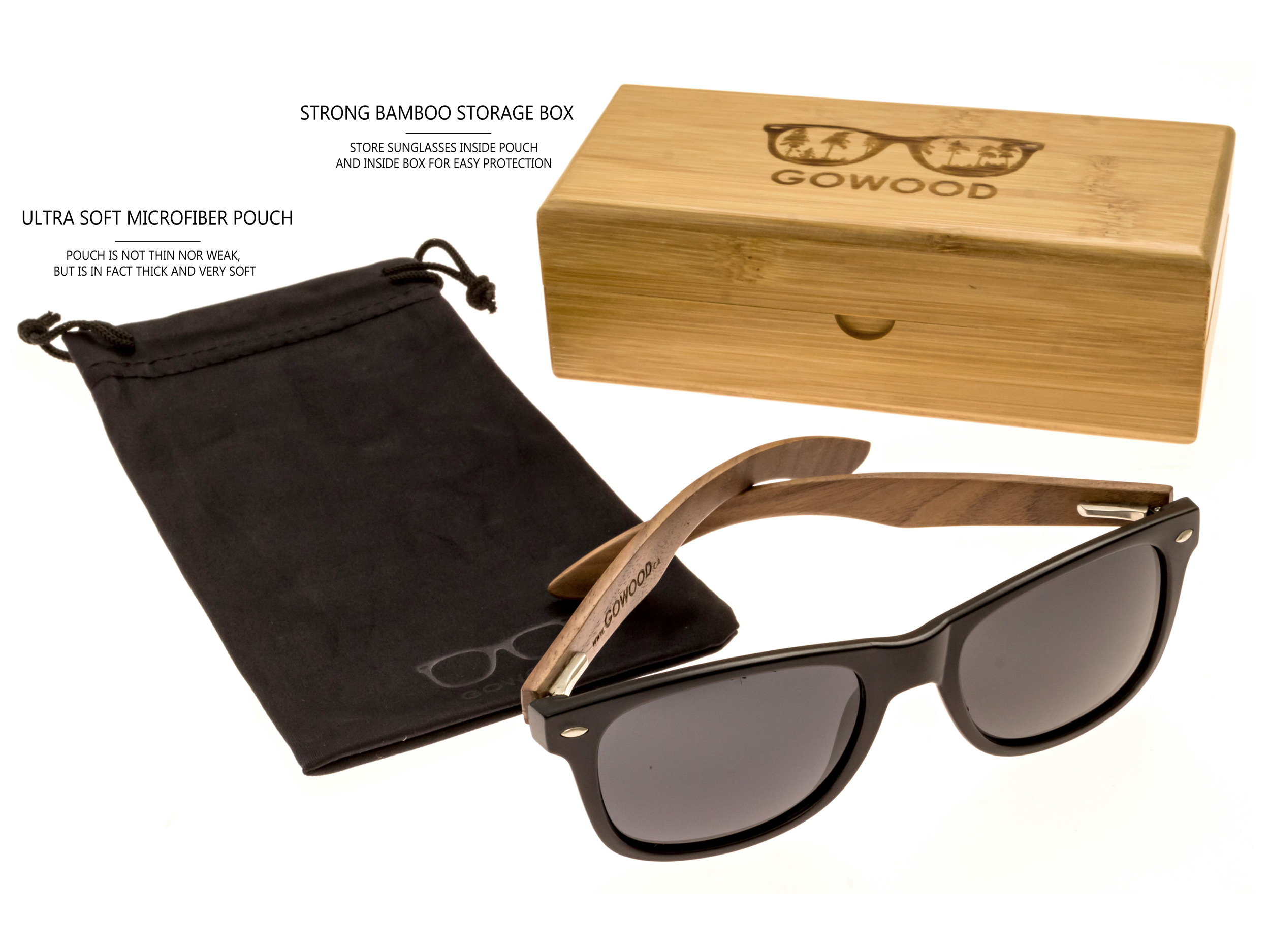 classic wayfarer sunglasses with walnut legs set