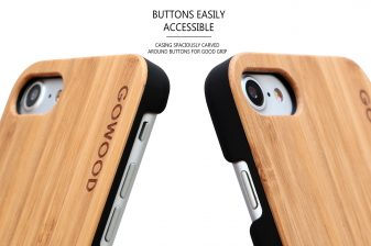 iPhone 7 and 8 wood case bamboo buttons