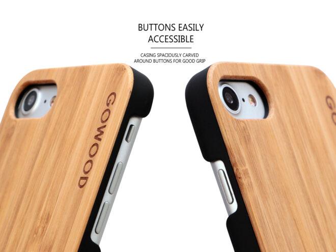 étui iPhone 7 et 8 en bois - bambou boutons