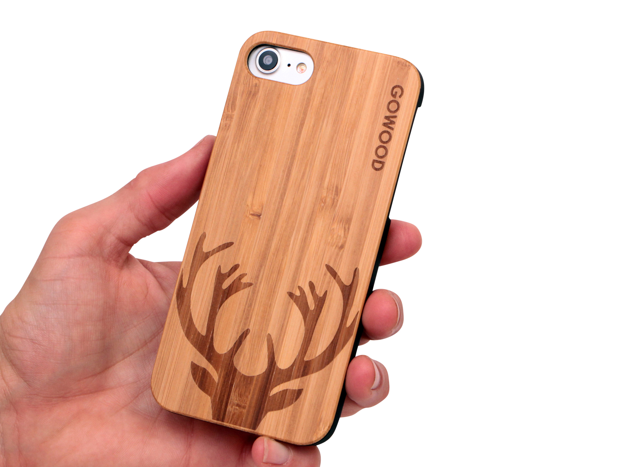 iPhone 7 and 8 wood case deer use 1
