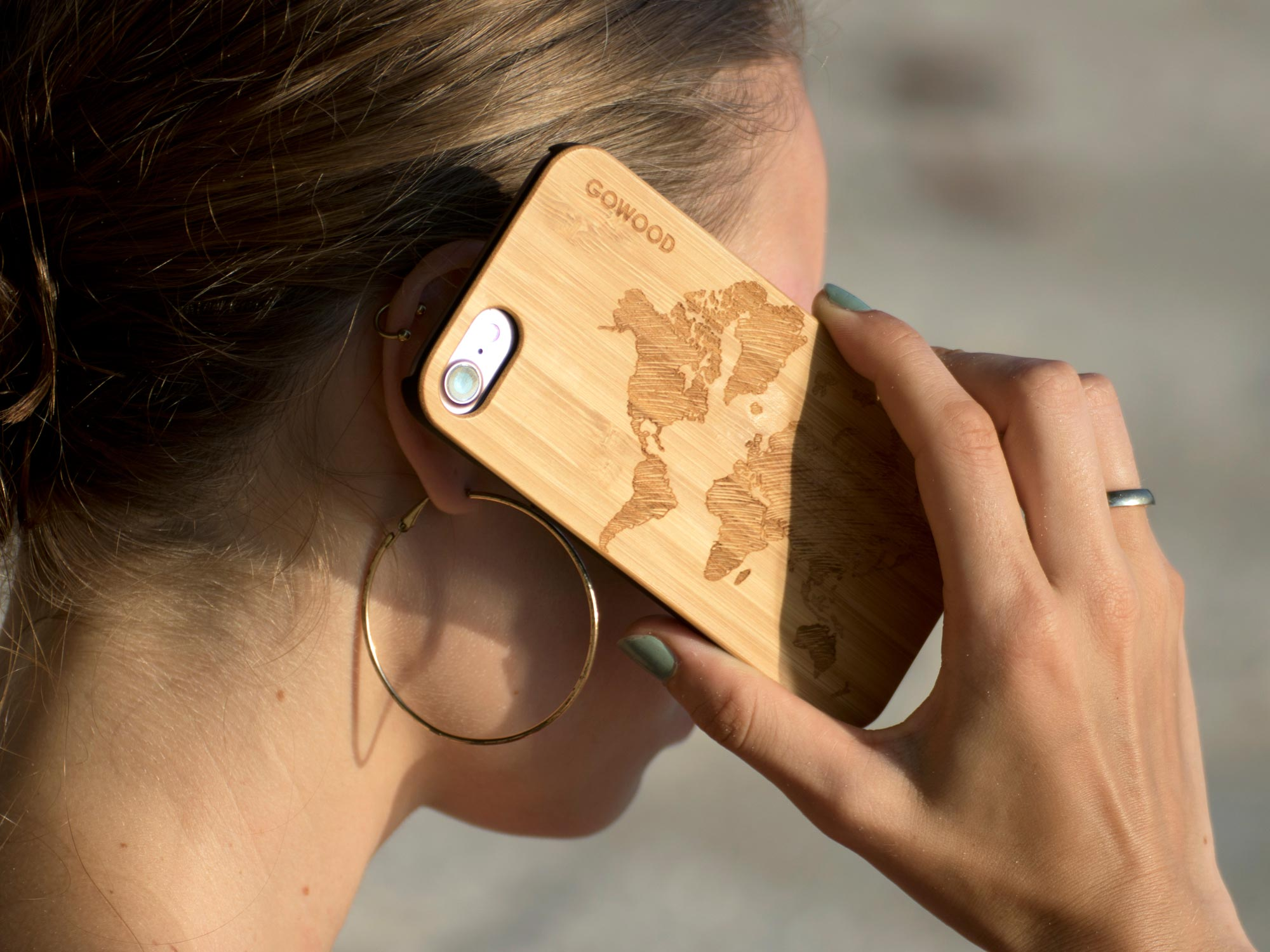 iPhone case bamboo world map