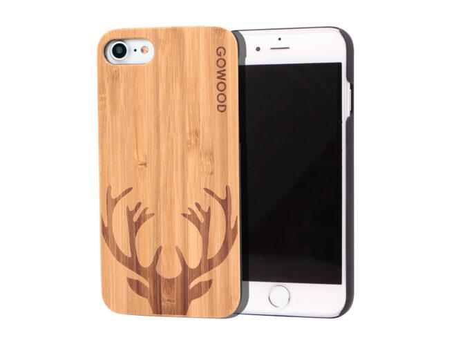 étui iPhone 7 et 8 en bois - bambou chevreuil