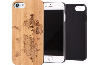 iPhone 7 wood case world map main