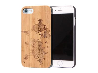 étui iPhone 7 et 8 en bois - bambou carte du monde
