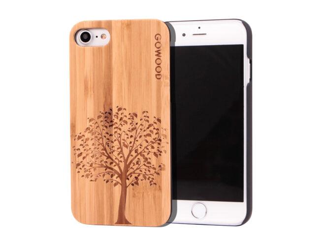étui iPhone 7 et 8 en bois - bambou arbre