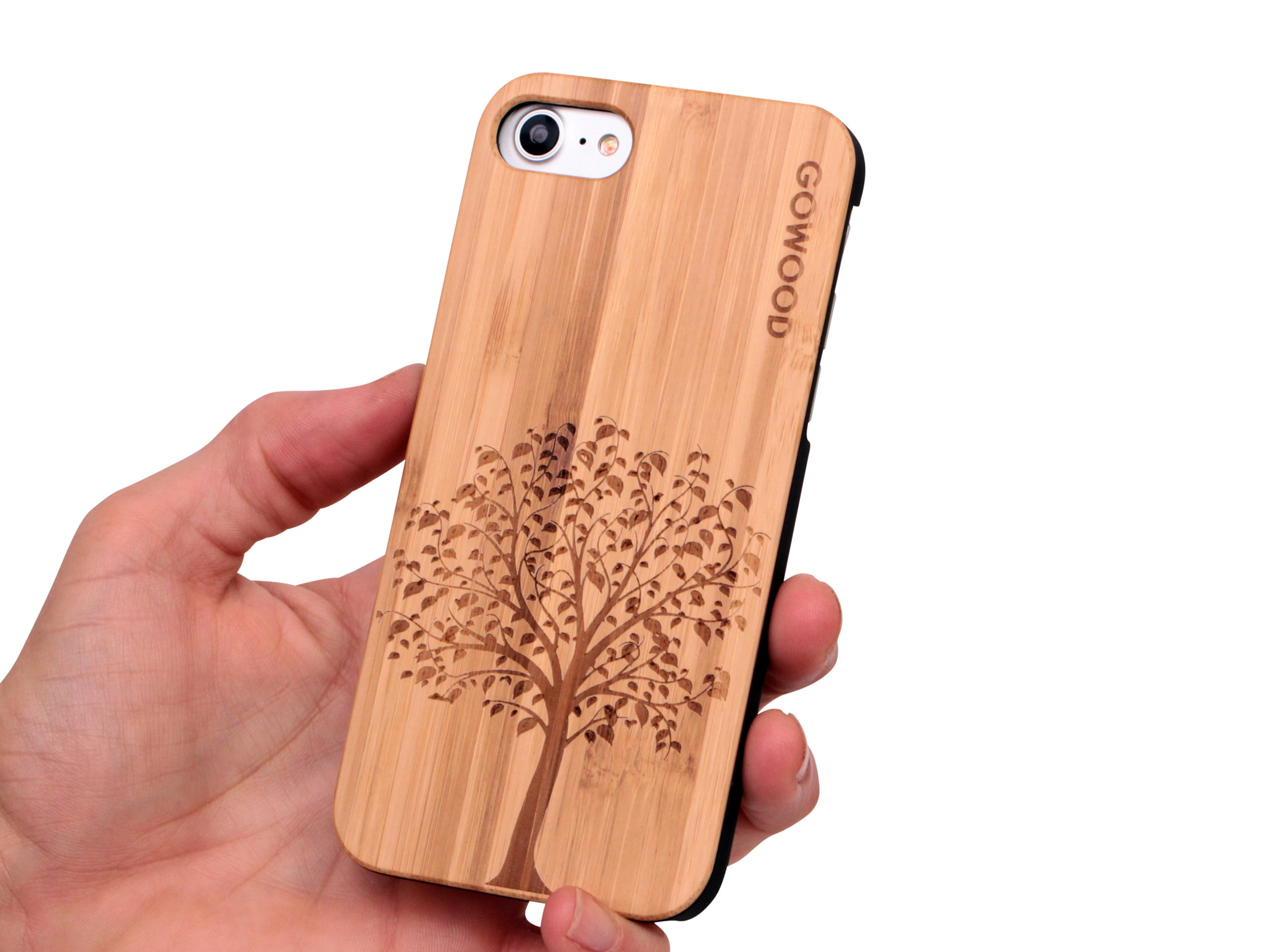 iPhone 7 and 8 wood case tree user 1