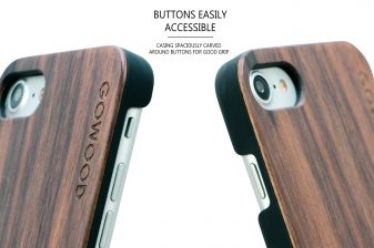 iPhone 7 and 8 wood case walnut buttons