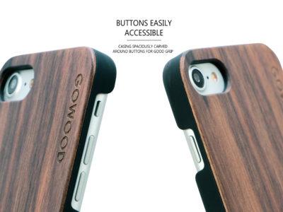 etui iPhone 7 noyer boutons
