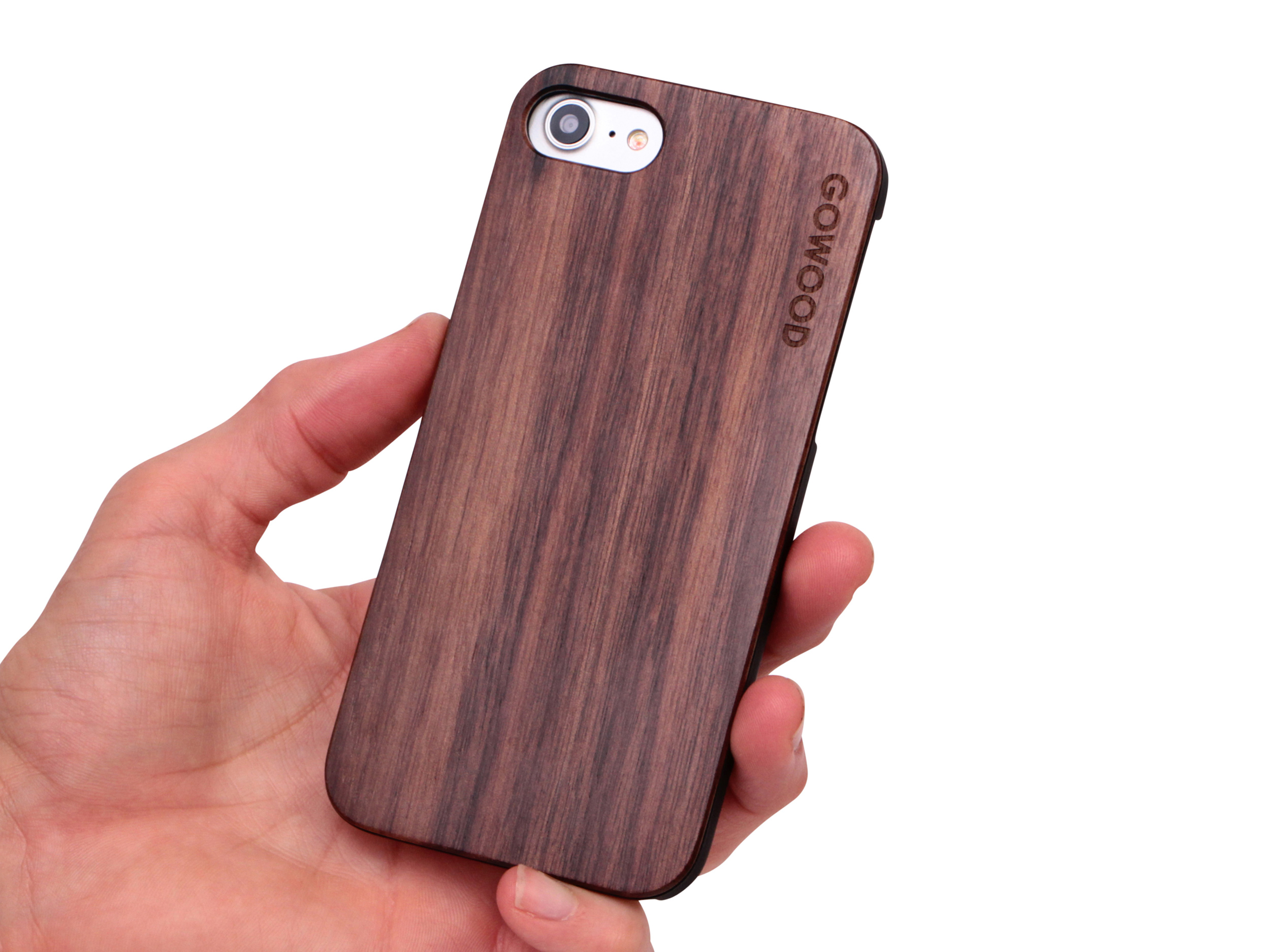 iPhone 7 and 8 wood case walnut user 1