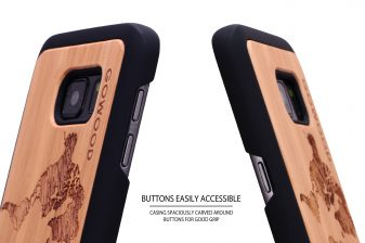 Samsung Galaxy S7 wood case world map buttons