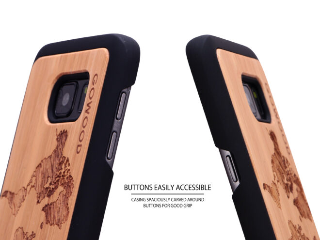 Samsung Galaxy S7 wood case world map buttons