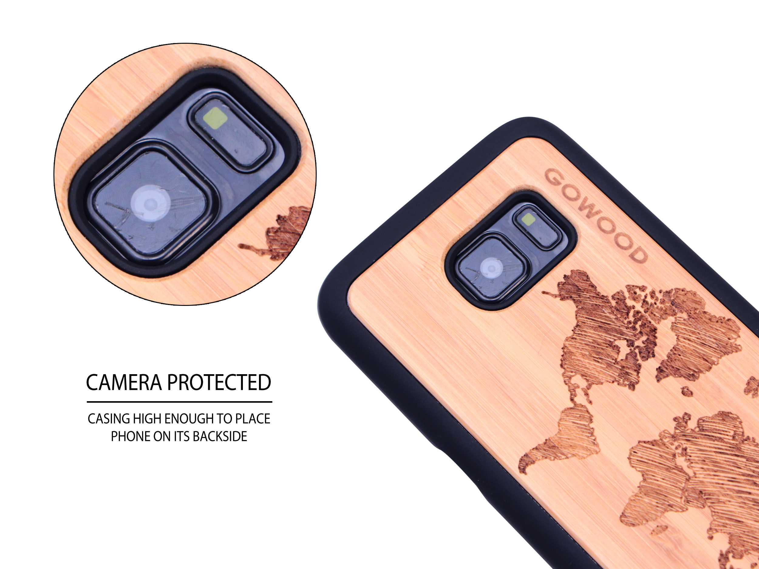 Samsung Galaxy S7 wood case world map camera