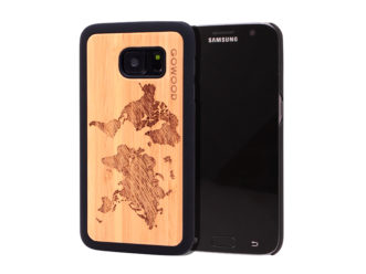 Samsung Galaxy S7 wood case world map main