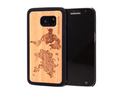 Samsung Galaxy S7 wood case world map main