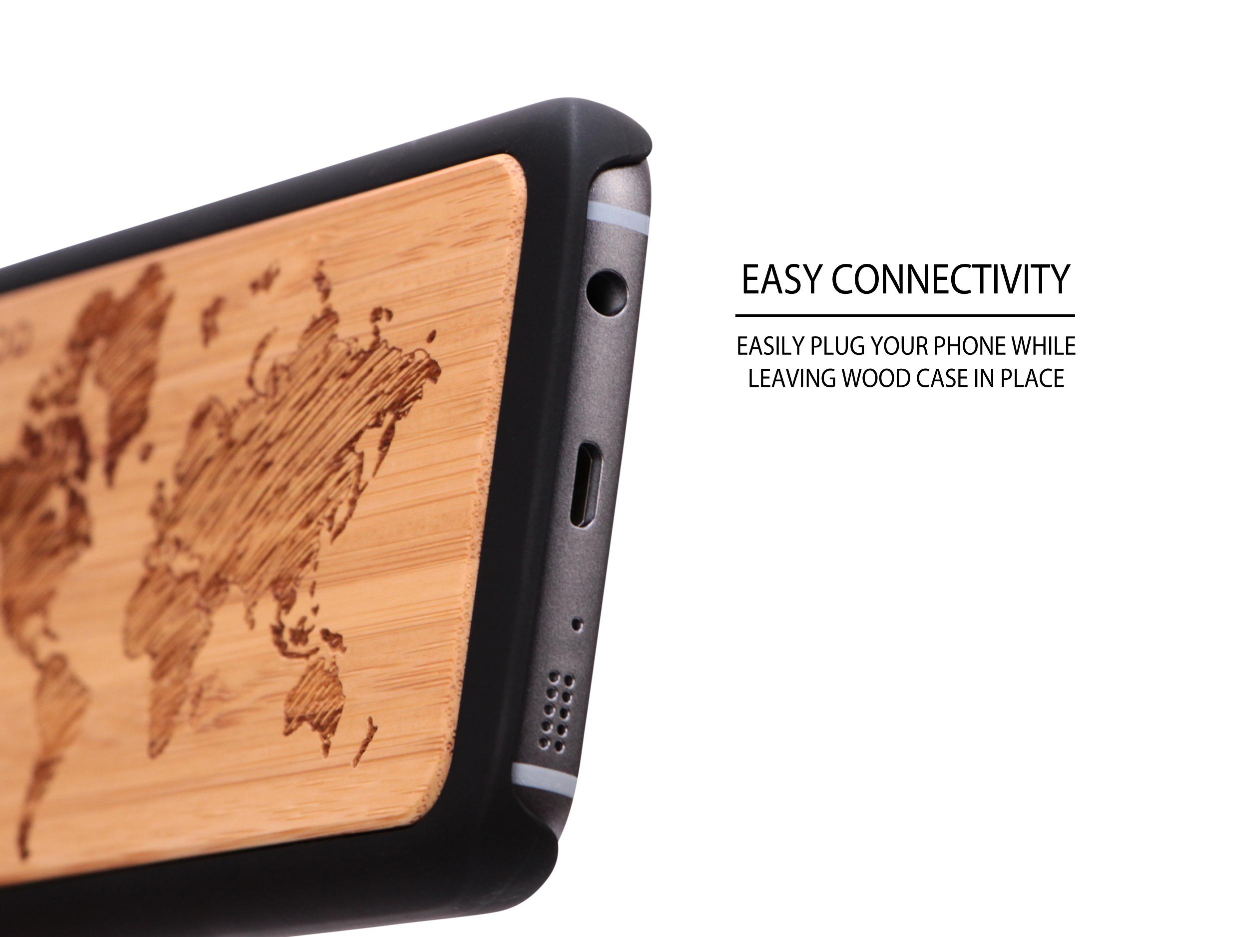 Samsung Galaxy S7 wood case world map socket