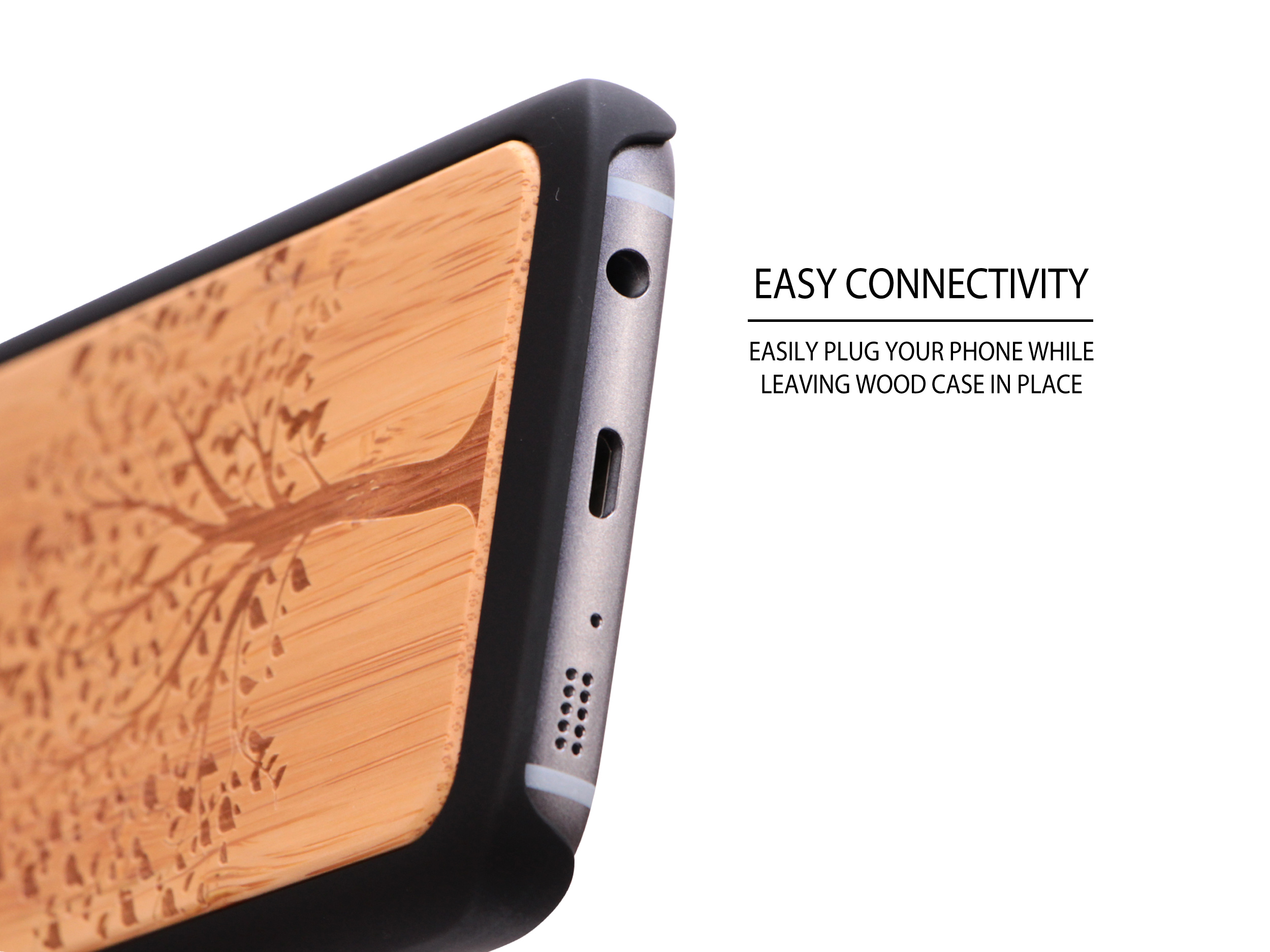 Samsung Galaxy S7 wood case tree socket