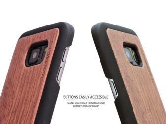 Samsung Galaxy S7 wood case walnut buttons