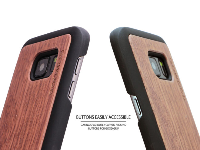Samsung Galaxy S7 wood case walnut buttons