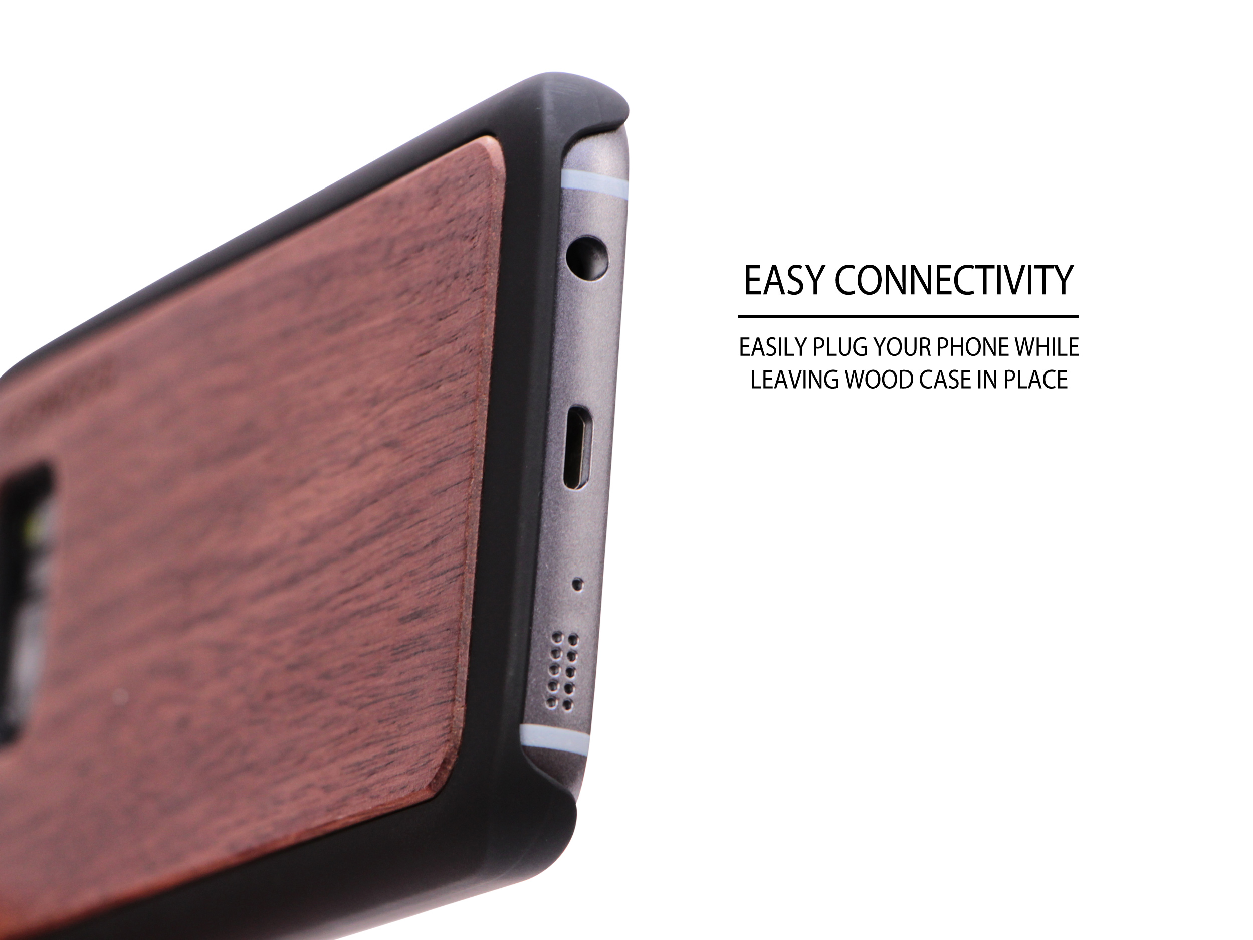 Samsung Galaxy S7 wood case walnut socket