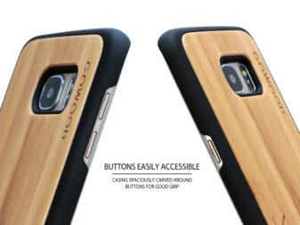 Samsung Galaxy S7 Edge wood case deer buttons