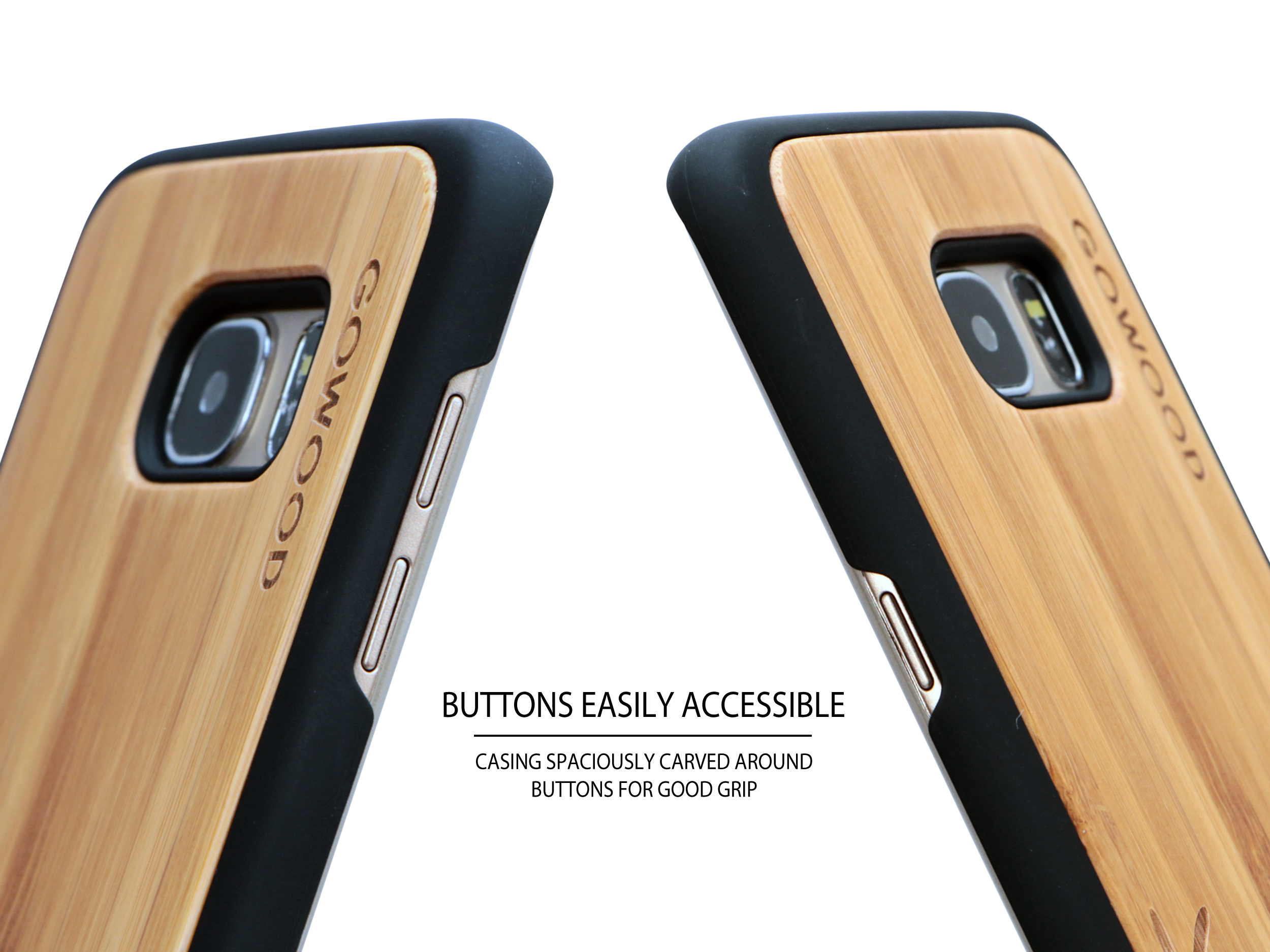 Samsung Galaxy S7 Edge wood case deer buttons