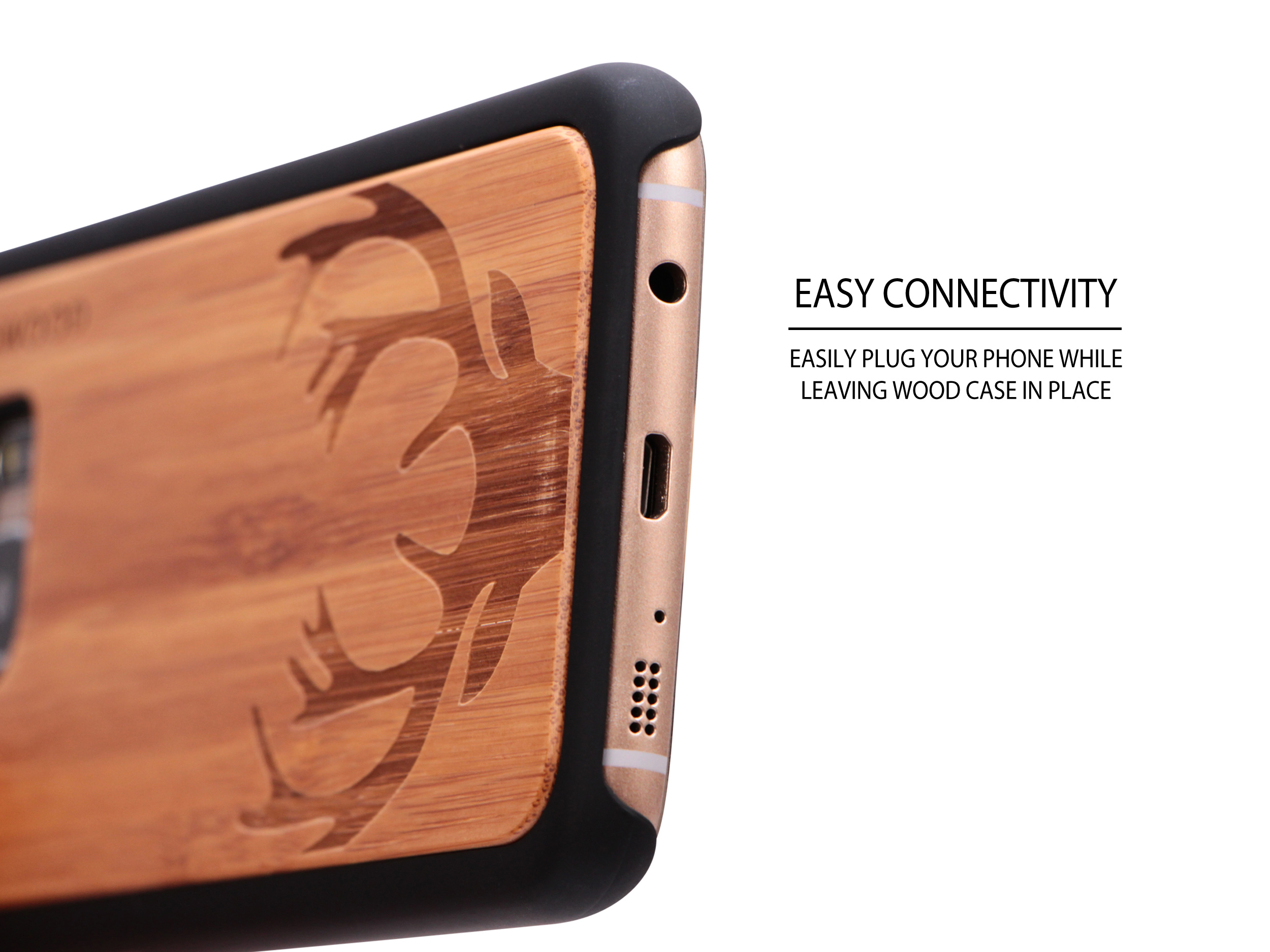 Samsung Galaxy S7 Edge wood case deer socket