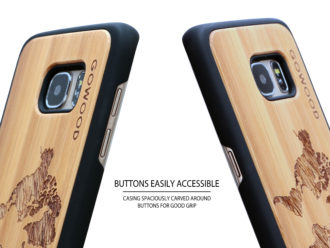 Samsung Galaxy S7 Edge wood case world map buttons