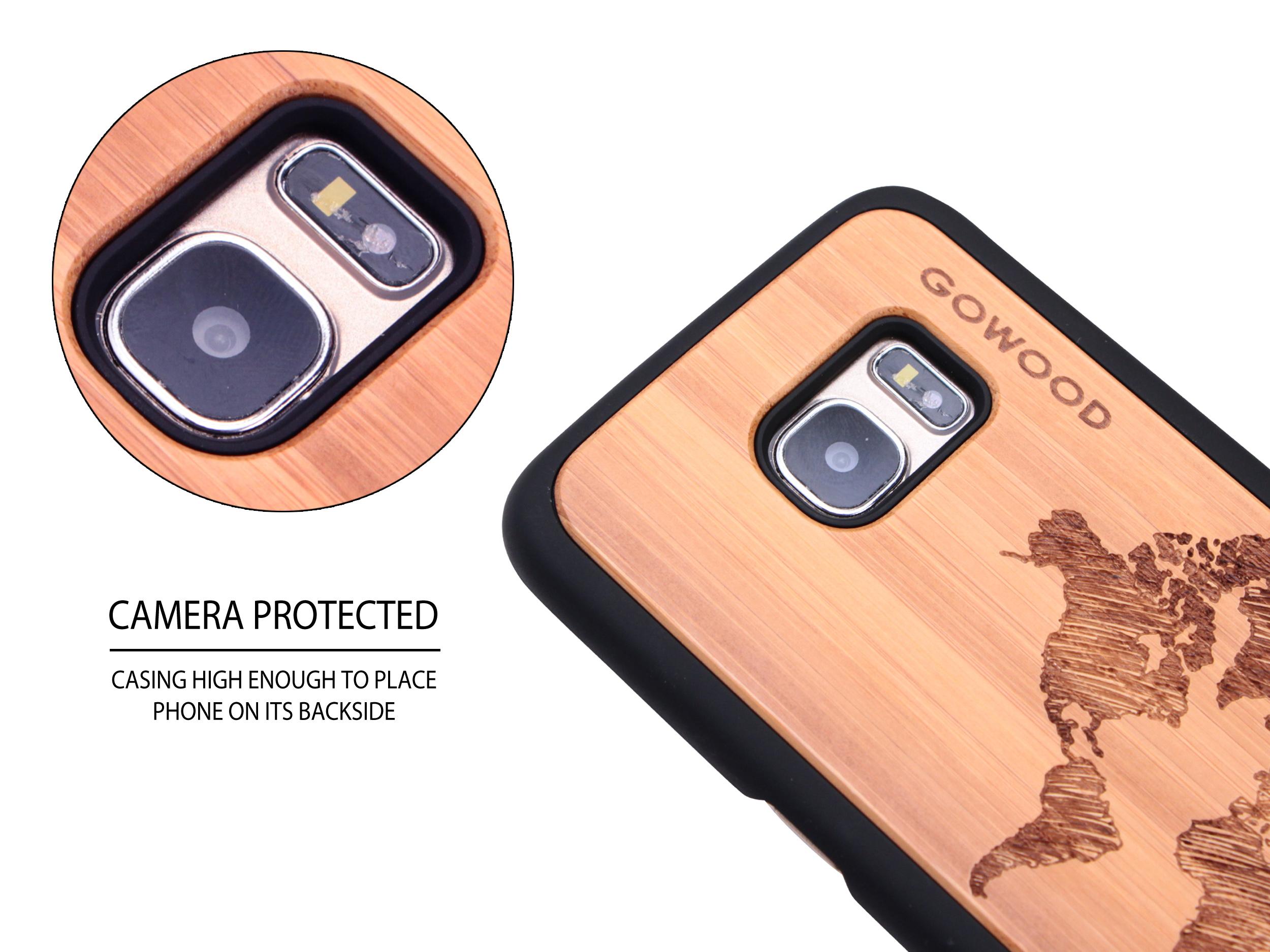 Samsung Galaxy S7 Edge wood case world map camera