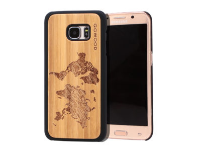 Samsung Galaxy S7 Edge wood case world map main