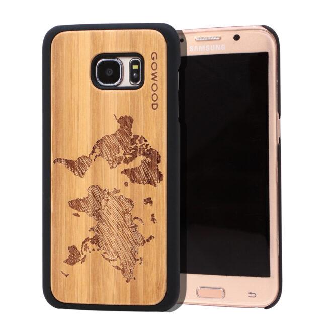 Samsung Galaxy S7 Edge wood case world map main