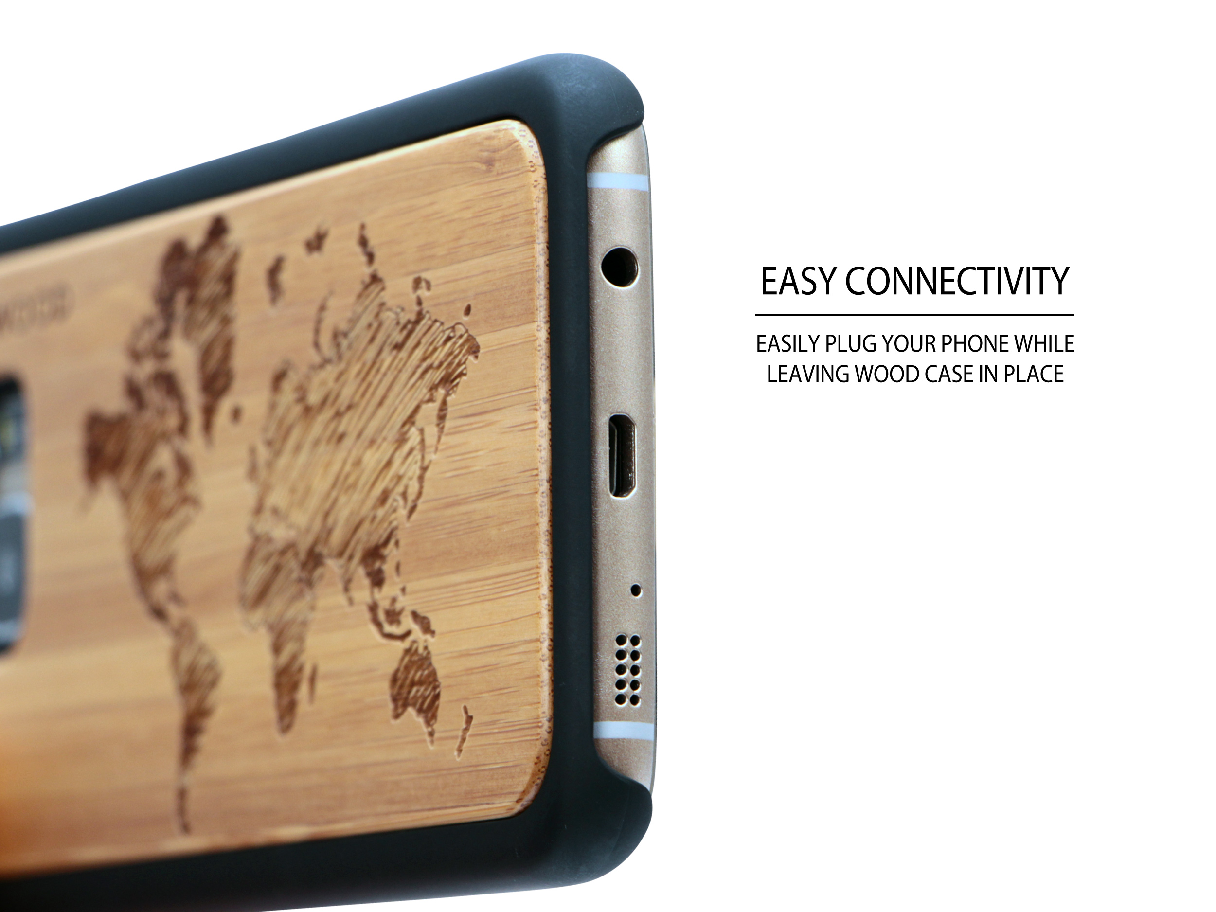 Samsung Galaxy S7 Edge wood case world map socket