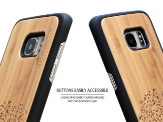 Samsung Galaxy S7 Edge wood case tree buttons
