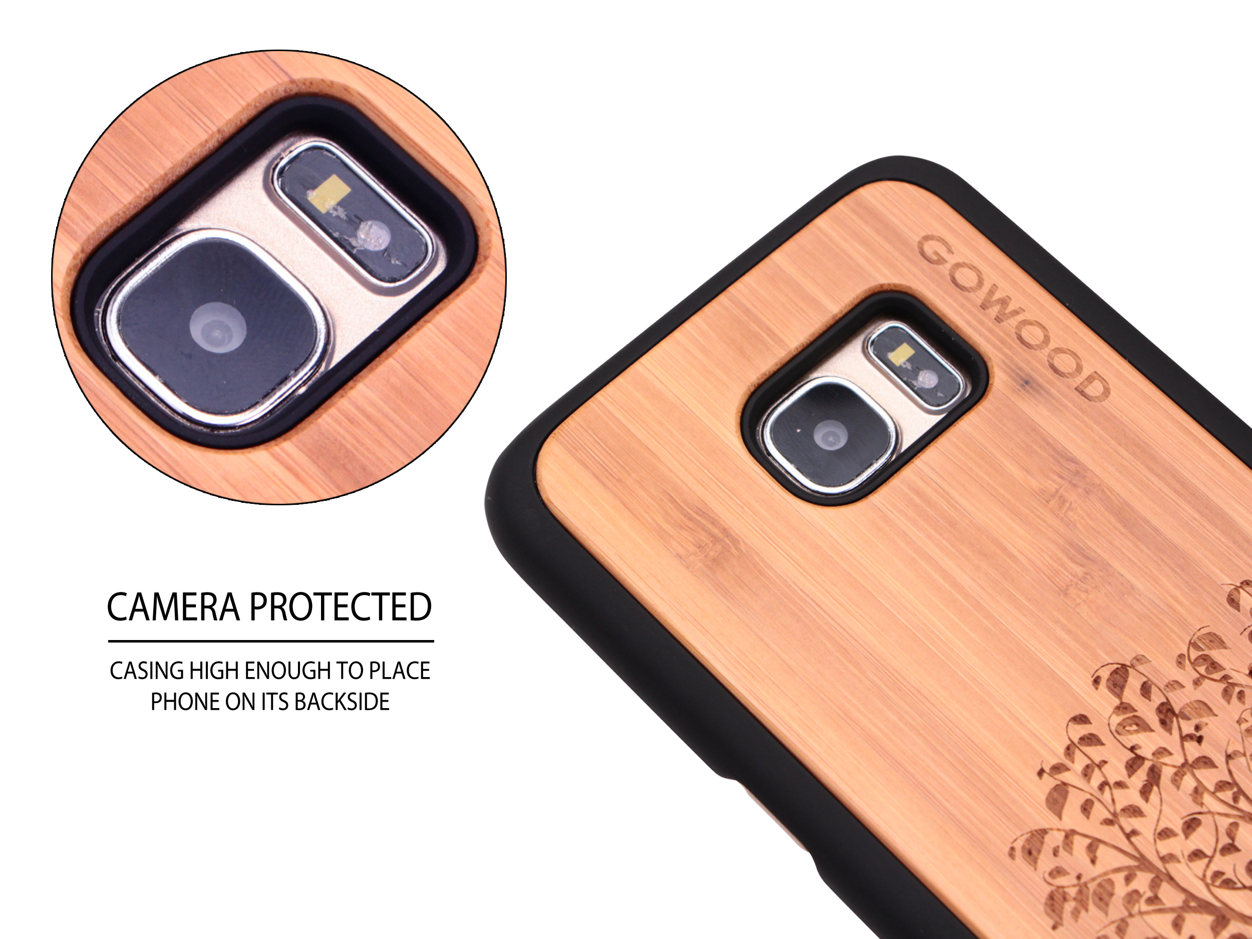 Samsung Galaxy S7 Edge wood case tree camera